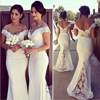 Women's Fashion Lace Patchwork Ball Gown One Piece Dress [9324595012]