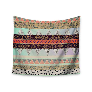"Vasare Nar ""Animal Print Tribal"" Multicolor Pastel Wall Tapestry"