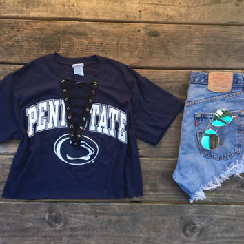 Penn State & Alabama lace up tees