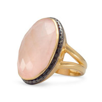 14 Karat Gold Plated Ring w/ Faceted Rose Quartz