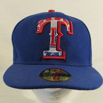 New Era Texas Rangers Fitted Baseball Cap Hat Size 7 1/4 Blue 59 Fifty
