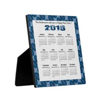 Mod Blue Oval Pattern 2016 yearly calendar Display Plaques