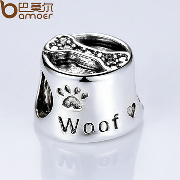 Free Ship Vintage Silver Plated Cute Dog Footprint & Bone European Baby Charms for Beads Bracelet DIY Accessories PA5292
