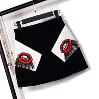 A-Line Skirt Embroidered Lips Fringed Mini Skirts
