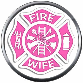 Pink Maltese Cross Firefighter Ladder And Axe Wife Thin Red Line Courage Under Fire 18MM-20MM Snap Charm Jewelry New Item