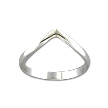 Half Round V Wide Ring - Sterling Silver