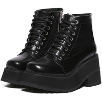 Black Side Zipper Lace Up Thick-soled Short Boots