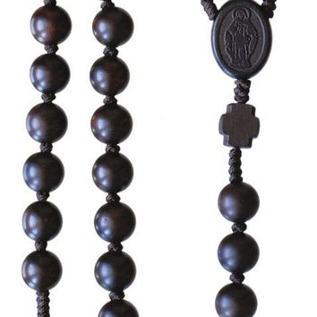 Mens Wooden Catholic Rosary Beads Strong Cord Dark Brown Jujube Wood Round 10mm