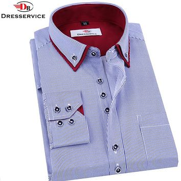 DRESSERVICE 2016 Brand Men's Long-sleeved Striped Shirt  Men Clothing Double Collar Casual Male Business Casual Formal Shirt