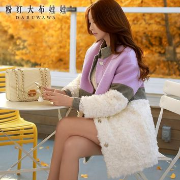 original winter straight wool patches fur down jacket for women womens winter jackets