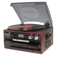 Pyle Classic Vintage Turntable with AM-FM Radio-Cassette-CD, USB-SD and Aux Input for iPod and MP3 Players (Mahogany)