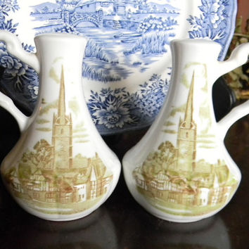 Sage Olive Green  Transferware Salt and Pepper Shakers Romantic England