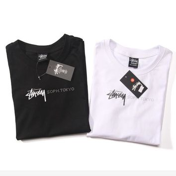 Stussy men and women short sleeve top T-shirt Round neck black