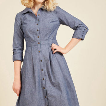 Broadcast Coordinator Denim Dress | Mod Retro Vintage Dresses | ModCloth.com
