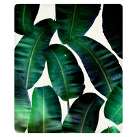 Cosmic Banana Leafs Fleece Throw