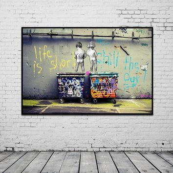 """Wall Canvas Graffiti Art """"Life Is Short Chill The Duck Out"""""""