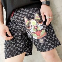 GUCCI summer beach pants print classic letter shorts cartoon dog casual sport pants