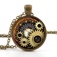 Steampunk Necklace - Steampunk  Pendant - Steampunk Jewelry - Steampunk Gears Cogs Compass - Vintage Antique Bronze - Gift Bag Included