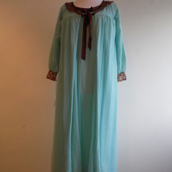 Vintage blue peignoir negligee and long nightgown set in sheer chiffon and lace 34-36""