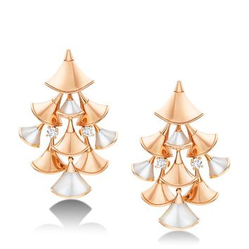 Bvlgari Rose Gold and Diamond Divas' Dream Drop Earrings | Harrods.com