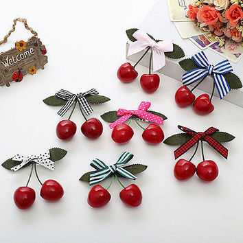 1Pcs Sweet Girl Kids Retro Vintage Pink Bow Cherry Hair Clip Hairpin 8.5*8cm TB