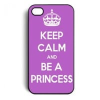 Purple Keep Calm and be a Princess Snap On Case Cover for Apple iPhone 4 iPhone 4s