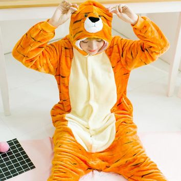 Bengal Tiger Carton Cosplay Costume Warm Onesuit Adult Kawaii Flannel Pijama Women Men Unisex Sleepwear S - XL