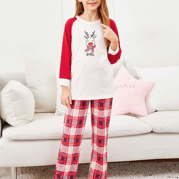 Christmas Girls Deer Print Top & Plaid Pants PJ Set