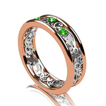 Filigree ring, emerald, green wedding band, lace, vintage, emerald wedding, engagement ring, white gold, rose gold