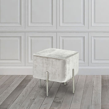 Velvet and Steel Cube Ottoman | Overstock.com Shopping - The Best Deals on Ottomans