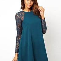 Hot Sale Lace Long Sleeve Patchwork Round-neck One Piece Dress [6338687492]