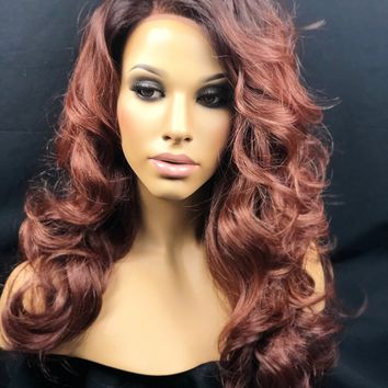 Brown Auburn Dark Roots, Ombre Lace Wig, Curly Lace Wig, Brown Roots Warm Auburn Mix , Human Hair Blend Swiss Lace Front Wig