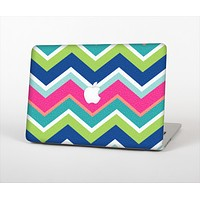 The Vibrant Teal & Colored Layered Chevron V3 Skin Set for the Apple MacBook Air 13""