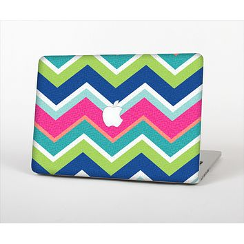 The Vibrant Teal & Colored Layered Chevron V3 Skin Set for the Apple MacBook Air 11""