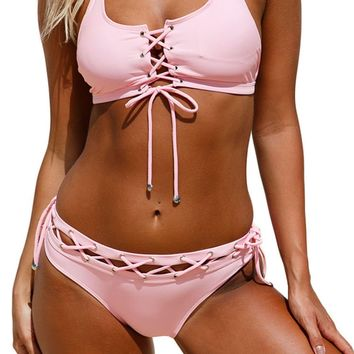 Aleumdr Womens Sexy Crop Tops Push Up Strappy Padding Lace Up Halter Bralette Bikini Set Swimsuit With Swim Briefs Plus Size XL US 14-16 Size Pink