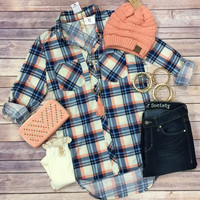 What I like about you Plaid Flannel Top: Navy/Coral