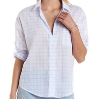 Blue Combo Grid Print Oversized High-Low Shirt by Charlotte Russe