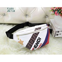 Fendi mania series five-pointed star logo color matching fashion wild pocket chest bag White