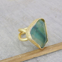 18K Gold Plated Ring - Green Fluorite Ring - Rough Gemstone Ring - Delicate Gold Ring - Stackable Ring - Christmas Gift For Mom