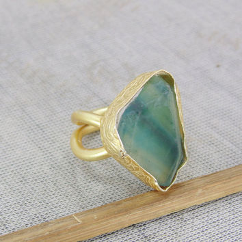18K Gold Plated Ring - Green Fluorite Ring - Rough Gemstone Ring - Delicate  Gold Ring 6735a8b31fe3