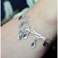 Grandma gifts,Grandmother gift ,personalized bracelet ,charms ,chains ,bangle,6 INITIAL LEAVES ,leaf ,mom,mother, friendship ,branch ,silver