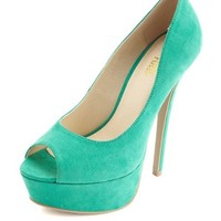 SUEDED PEEP TOE PLATFORM PUMP