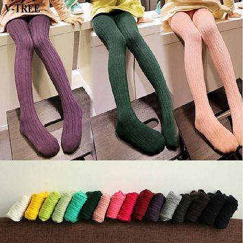 V-TREE Baby Tights Vertical Striped Child Pantyhose Knitted Girls Stockings Candy Color Tights For Kids School Stockings