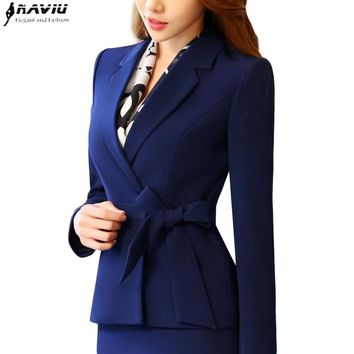 New business women clothes OL winter elegant bow long sleeve blazer formal uniforms office ladies plus size work wear jacket