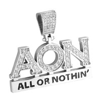 Hip Hop Designer All or Nothing Fully Iced Out Pendant 14k White Gold Finish