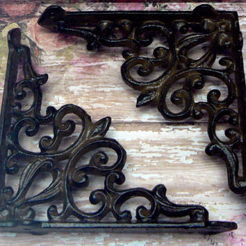 Wall Bracket Cast Iron Shelf Ornate FDL Scroll Brace All Natural Raw Decorative Do it Yourself Brackets 1 Pair (2 individual brackets)