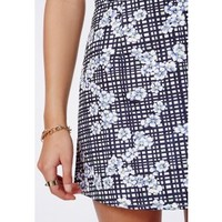 Missguided - Beckie Check Floral A-Line Skirt Blue