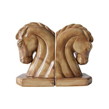 Pre-owned Caramel Ceramic Horse Head Bookends - A Pair