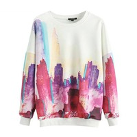 Women's Long Sleeves Fleece With Colorful Abstract City Image
