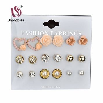 DANZE 9 Pairs/set Cute & Romantic Resin Flowers Stud Earring Classic Heart Ear Jewelry Simulated Pearls Earrings For Women Gifts